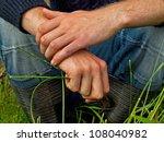 man holding meadow grass stalks ... | Shutterstock . vector #108040982