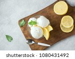 lemon ice cream in bowl.... | Shutterstock . vector #1080431492