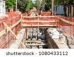 city district heating pipeline... | Shutterstock . vector #1080433112
