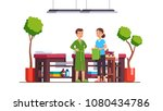 man standing in bathrobe... | Shutterstock .eps vector #1080434786