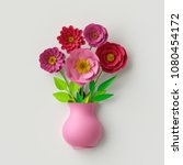 3d render  cute pink vase with... | Shutterstock . vector #1080454172