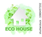 white paper house and green... | Shutterstock .eps vector #1080457232