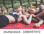 two hippie girlfriends enjoying ... | Shutterstock . vector #1080457472