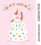 happy birthday  unicorn... | Shutterstock .eps vector #1080467858
