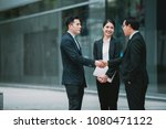 handshake business team with... | Shutterstock . vector #1080471122