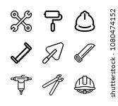 icons work tools with driller ... | Shutterstock .eps vector #1080474152
