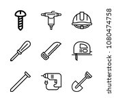 icons work tools with saw ... | Shutterstock .eps vector #1080474758