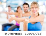group of people exercising at... | Shutterstock . vector #108047786
