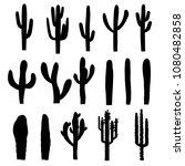 black silhouettes of saguaro... | Shutterstock .eps vector #1080482858