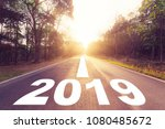 empty asphalt road and new year ... | Shutterstock . vector #1080485672