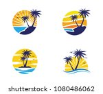 palm tree summer logo template... | Shutterstock .eps vector #1080486062