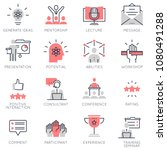 vector set of flat linear icons ... | Shutterstock .eps vector #1080491288