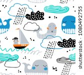 childish seamless pattern with... | Shutterstock .eps vector #1080492755