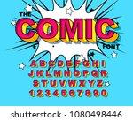 comic alphabet. retro pink.... | Shutterstock .eps vector #1080498446