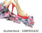 elegant sandals and scarf...   Shutterstock . vector #1080501632