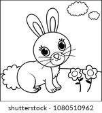Stock vector ector illustration of black and white rabbit for children painting activity 1080510962
