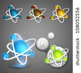 Science and nano technology glossy emblem as atomic structure eps10 vector icon - stock vector
