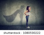 side view of a woman imagining... | Shutterstock . vector #1080530222