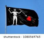 blackbeard pirate flag on a... | Shutterstock . vector #1080569765