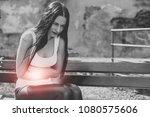 abdominal pain. stomach ache ... | Shutterstock . vector #1080575606