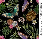 embroidery exotic floral... | Shutterstock .eps vector #1080577895