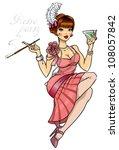 retro party invitation card ... | Shutterstock .eps vector #108057842