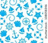 nautical seamless pattern... | Shutterstock .eps vector #108058346