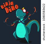Ninja Dino Cute Vector...