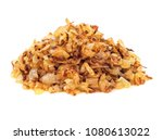 pile of fried gold onion or... | Shutterstock . vector #1080613022