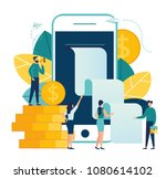 vector business illustration on ... | Shutterstock .eps vector #1080614102