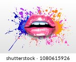 glossy colored and sexy lips in ... | Shutterstock .eps vector #1080615926