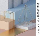 3d render  pastel color mock up ... | Shutterstock . vector #1080619232
