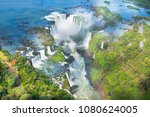 beautiful aerial view of iguazu ... | Shutterstock . vector #1080624005