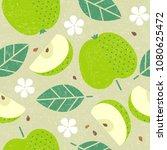 seamless pattern. apple juicy... | Shutterstock .eps vector #1080625472
