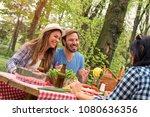 group of friends enjoying... | Shutterstock . vector #1080636356
