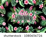 ready postcard with tropical... | Shutterstock . vector #1080656726