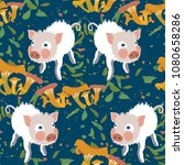 the cute little pig was lost in ...   Shutterstock .eps vector #1080658286