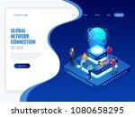 isometric social network ... | Shutterstock .eps vector #1080658295