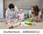 parents playing with a child... | Shutterstock . vector #1080660212