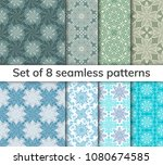Collection arabic, indian, japanese, islamic motifs. Set of 8 patterns. Mandala seamless pattern. Ethnic bohemian background. Wrapping and scrapbook paper. Abstract flower. Vector illustration