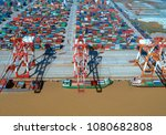 container terminal in shanghai... | Shutterstock . vector #1080682808