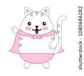 cute cat with cloak kawaii... | Shutterstock .eps vector #1080686282