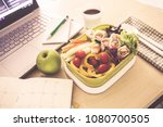 close up green lunch box on... | Shutterstock . vector #1080700505