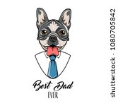 french bulldog. fathers day... | Shutterstock .eps vector #1080705842
