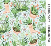 cute vector seasonal seamless... | Shutterstock .eps vector #1080708995