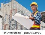 senior asian civil engineer... | Shutterstock . vector #1080723992