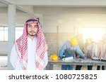 arab engineer with group of... | Shutterstock . vector #1080725825