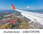 the wing aircraft in altitude... | Shutterstock . vector #1080739598