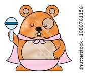 cute hamster with cloak and... | Shutterstock .eps vector #1080761156