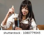 girl barista bartender waiter... | Shutterstock . vector #1080779045